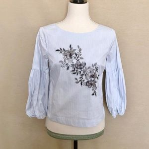 WHBM Floral Embroidered Blue & White Blouse